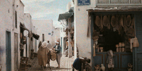1924, Tunis, Tunisia --- A street in a native corner of Tunis --- Image by © Gervais Courtellemont/National Geographic Society/Corbis